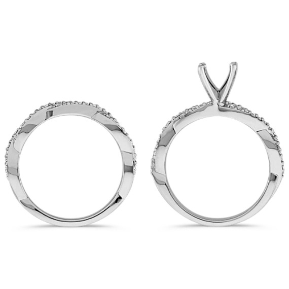 Infinity Diamond Wedding Set with Pavé Setting