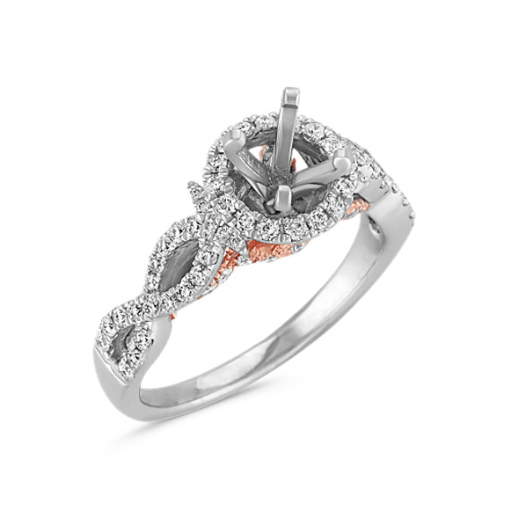 Infinity Halo Diamond Engagement Ring in White and Rose Gold