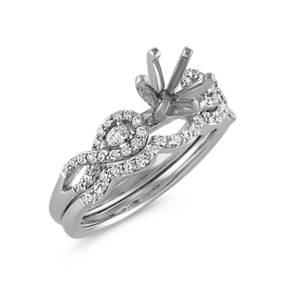 Infinity Pear-Shaped and Round Diamond Wedding Set with Pavé-Setting