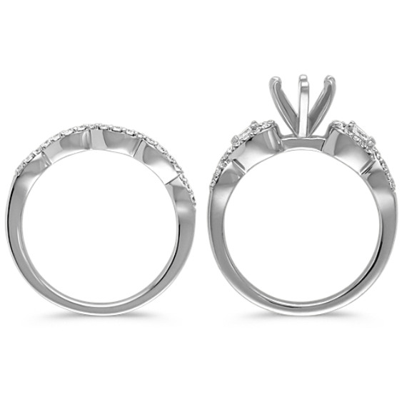 Infinity Pear Shaped and Round Diamond Wedding Set with Pavé Setting