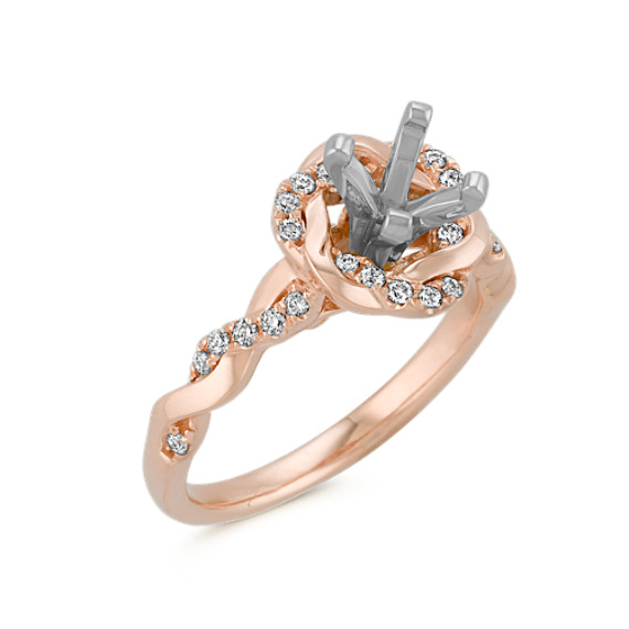 Infinity Rose Gold Engagement Ring with Diamond Twist Halo