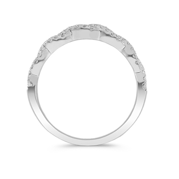 Infinity Twist Pavé-Set Diamond Wedding Band in 14k White Gold