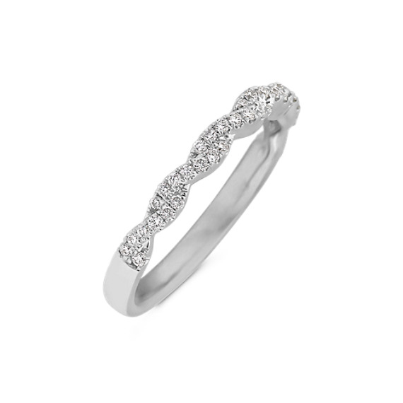 Infinity Twist Pavé-Set Diamond Wedding Band