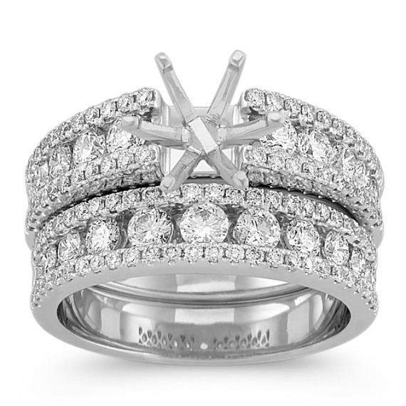 Inlay and Outline Round Diamond Wedding Set