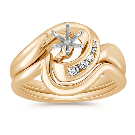 Interlocking Swirl Diamond Wedding Set with Channel Setting