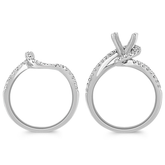 Interlocking Swirl Diamond Wedding Set with Pavé Setting