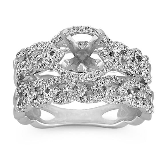 Intertwined Infinity Halo Wedding Set with Pavé Setting
