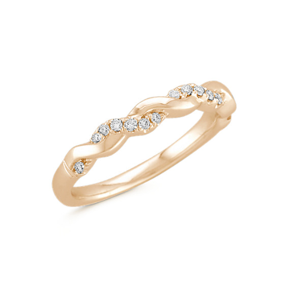 Interwoven Diamond and 14k Yellow Gold Infinity Wedding Band