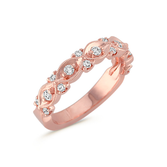 Interwoven Diamond and Rose Gold Milgrain Wedding Band