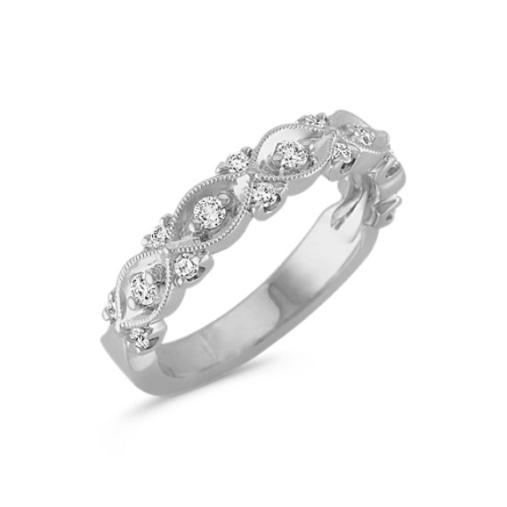 Interwoven Diamond and White Gold Milgrain Wedding Band