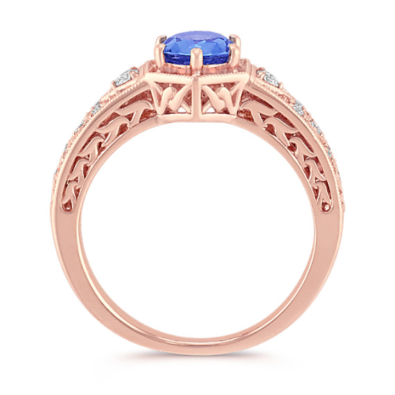 Kentucky Blue Sapphire and Round Diamond Ring in Rose Gold