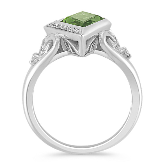 Kite Shaped Green Sapphire and Round Diamond Ring