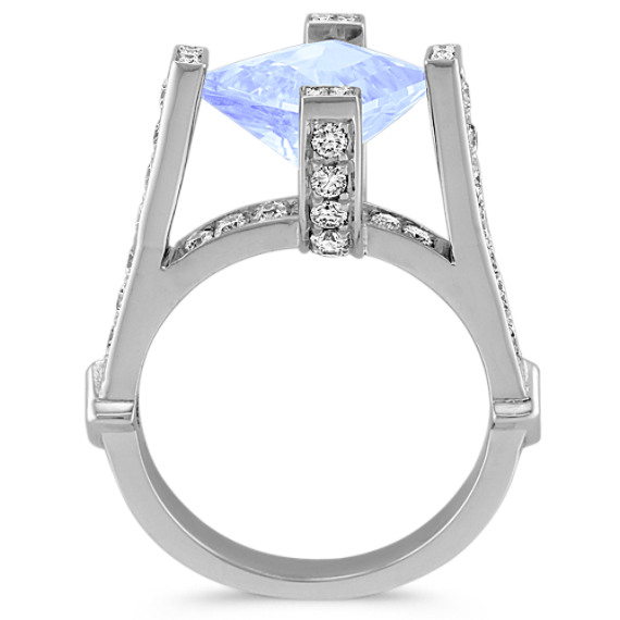 Kite-Shaped Ice Blue Sapphire, Princess Cut and Round Diamond Ring