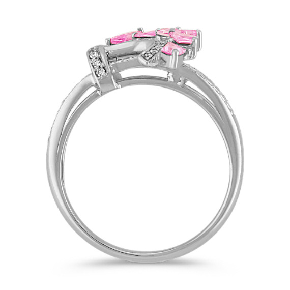 Kite Shaped Pink Sapphire and Round Diamond Ring