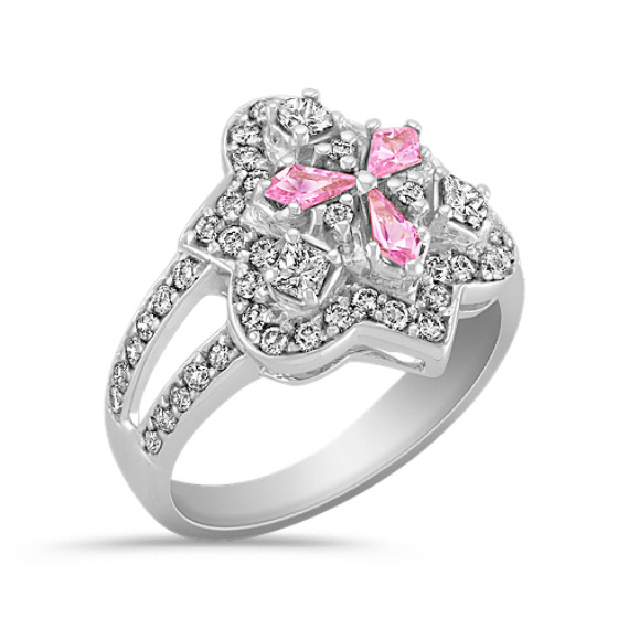 Kite Shaped Pink Sapphire, Fancy Shaped and Round Diamond Ring