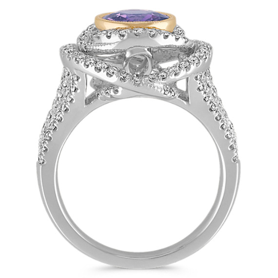 Lavender Sapphire and Diamond Ring in Two-Tone Gold