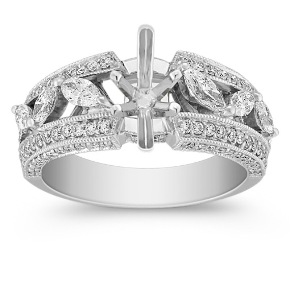 Marquise and Round Diamond Engagement Ring