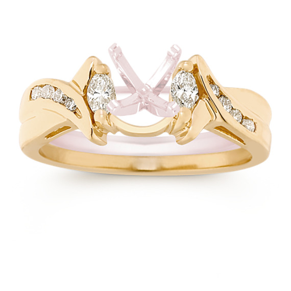 Marquise and Round Diamond Solitaire Engagement Ring Enhancer