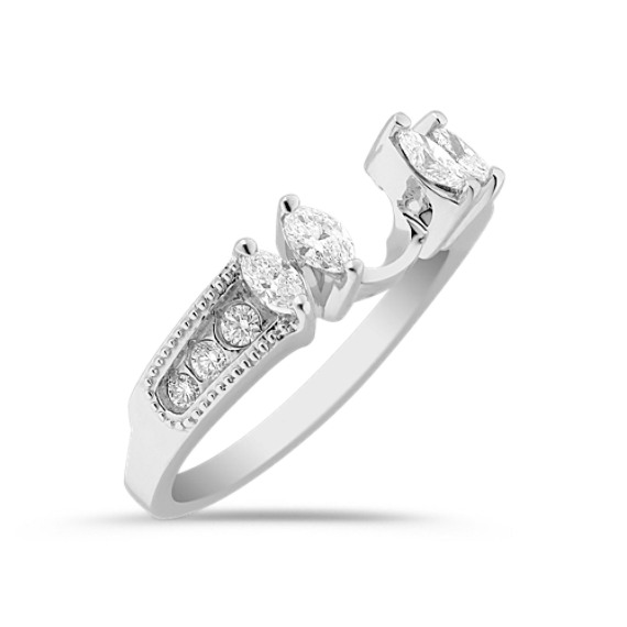 Marquise and Round Diamond Solitaire Engagement Ring Wrap