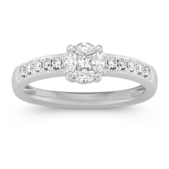 Marquise, Princess Cut, and Round Diamond Cluster Ring in 14k White Gold