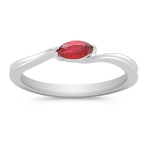 Marquise Ruby Ring in Sterling Silver