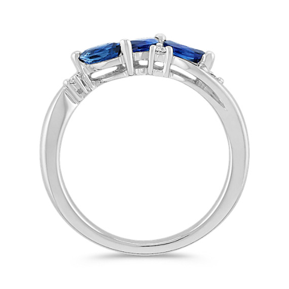 Marquise Sapphire and Round Diamond Ring