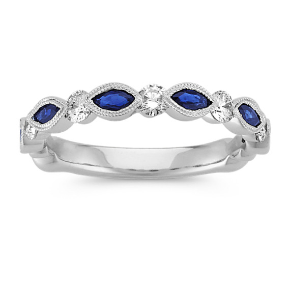 Marquise Sapphire and Round Diamond Wedding Band