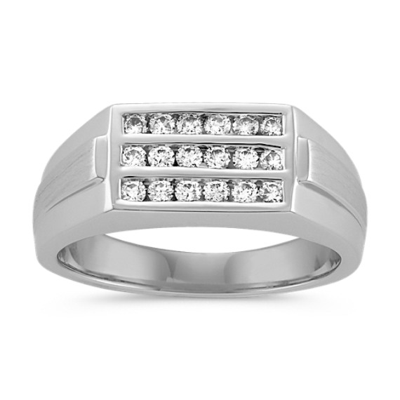 Men's Triple Row Channel-Set Diamond Ring in 14k White Gold (8mm)