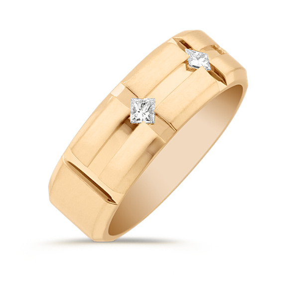 Men's Princess Cut Diamond Wedding Band in Yellow Gold (8mm)
