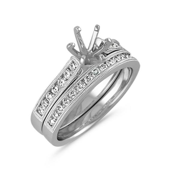 Milgrain Outline Round Diamond Wedding Set