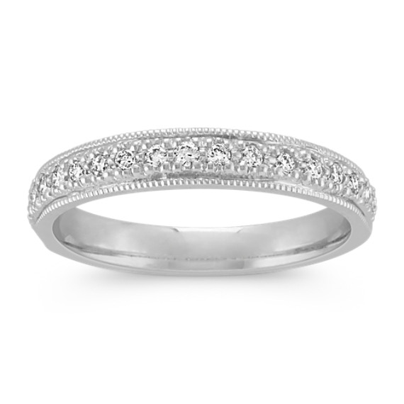 Milgrain Round Diamond Wedding Band with Pavé Setting