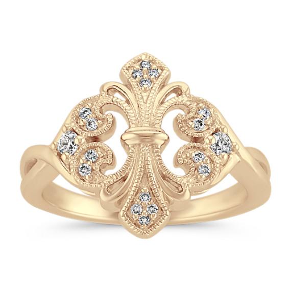 Mirrored Fleur De Lis Diamond Ring in 14k Yellow Gold