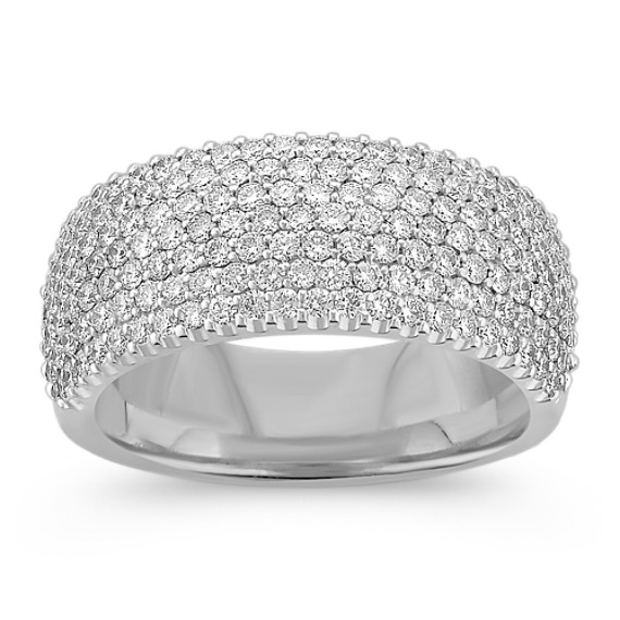 Modern Diamond Ring with Pavé Setting
