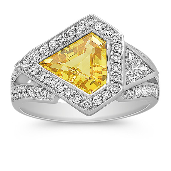 Modified Trillion Yellow Sapphire and Trillion and Round Diamond Ring