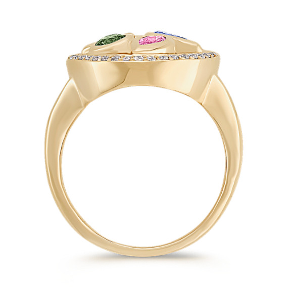 Multi-Shaped and Multi-Colored Ring with Diamond Accents