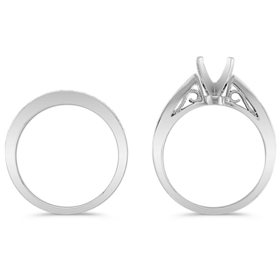 Narrowed Peak Round Diamond Wedding Set