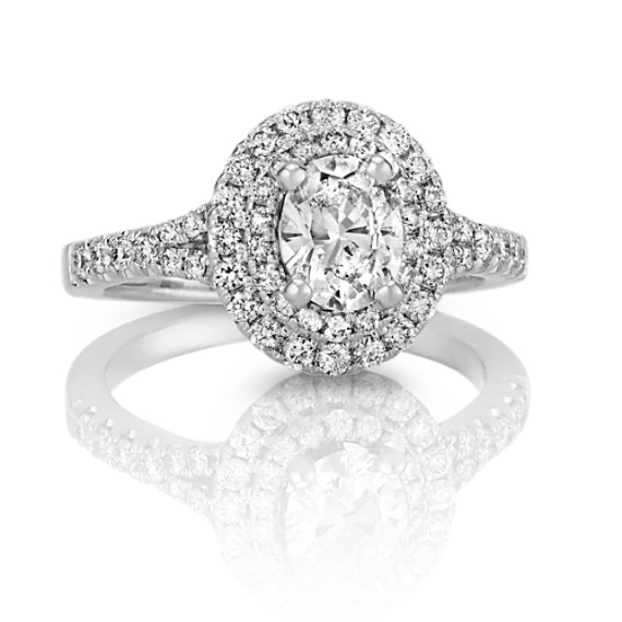 Oval Double Halo Round Diamond Engagement Ring with Pavé Setting