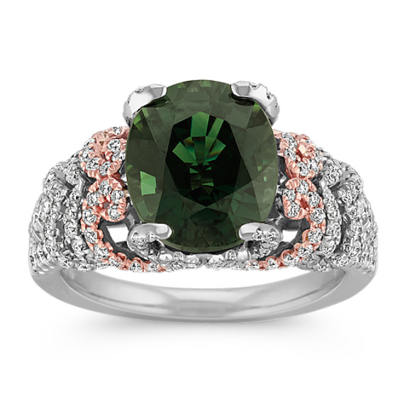 Oval Green Sapphire and Round Diamond Ring in 14k Two-Tone Gold