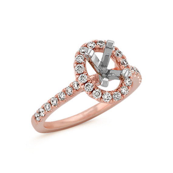 Oval Halo Engagement Ring in 14k Rose Gold with Round Diamond Accents at Shan