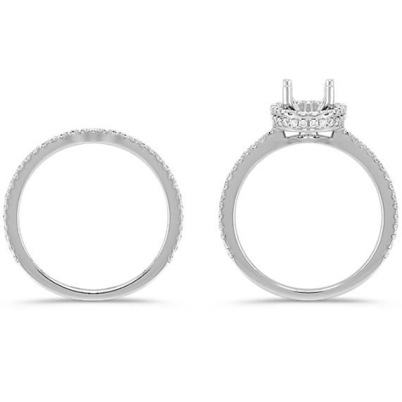 Oval Halo Pavé-Set Diamond Wedding Set