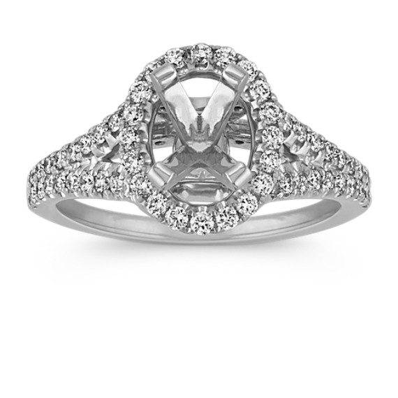 Oval Halo Split Shank Engagement Ring with Round Diamond Accent at Shane Co