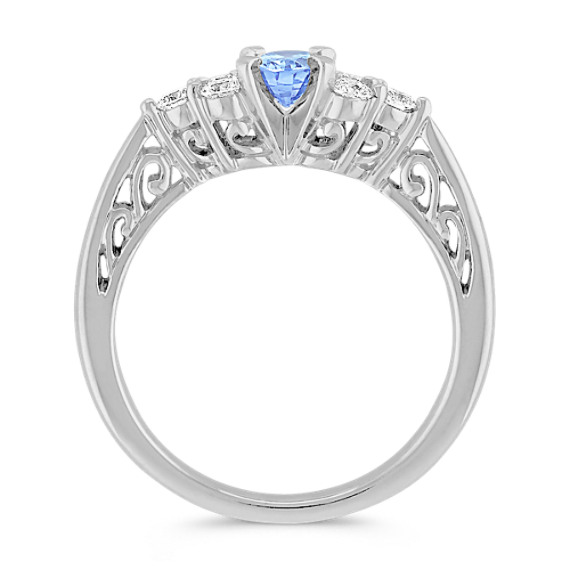 Oval Ice Blue Sapphire and Diamond Ring