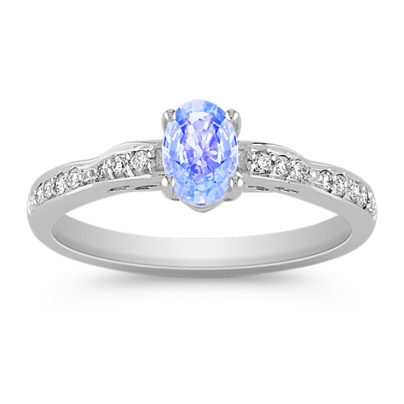 Oval Ice Blue Sapphire and Round Diamond Ring