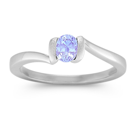 Oval Ice Blue Sapphire Ring in Sterling Silver