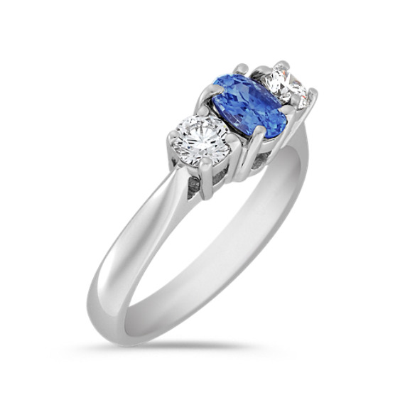 Oval Kentucky Blue Sapphire and Diamond Three-Stone Ring
