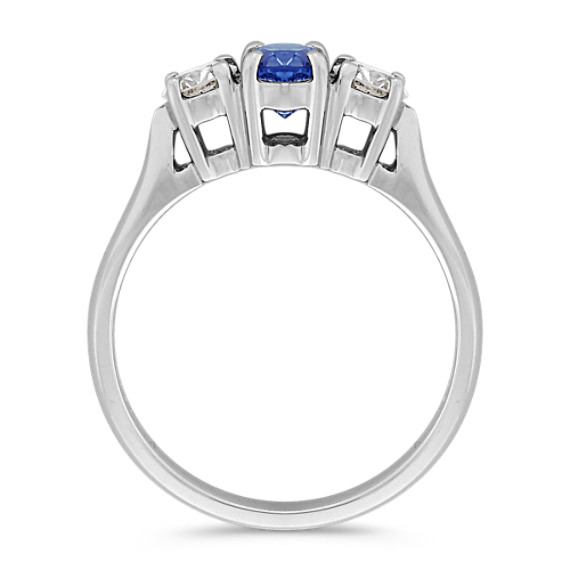 Oval Kentucky Blue Sapphire and Diamond Three-Stone Ring