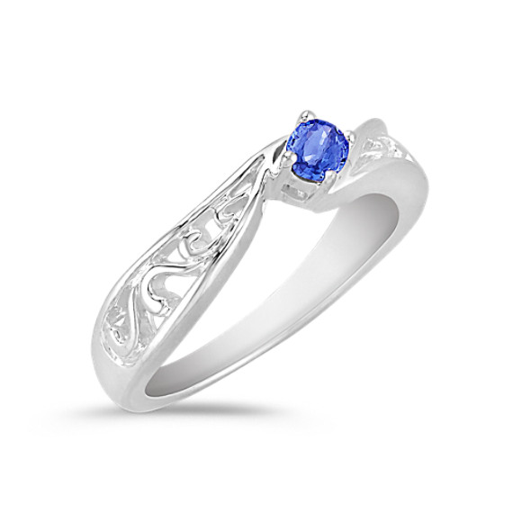 Oval Kentucky Blue Sapphire Ring in Sterling Silver with Filigree
