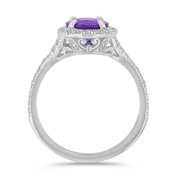 Oval Lavender Sapphire and Round Diamond Ring in 18k White Gold