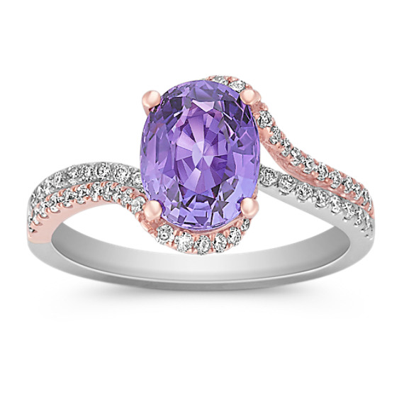Oval Lavender Sapphire and Round Diamond Ring in Rose and White Gold