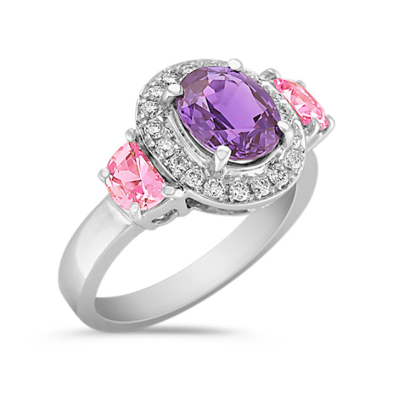 Oval Lavender Sapphire, Pink Half Moon Sapphire and Round Diamond Ring